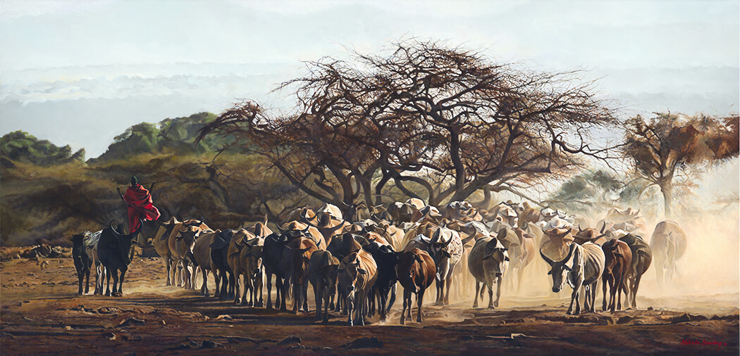 Masai Herdsman oil painting by Malcolm Bowling