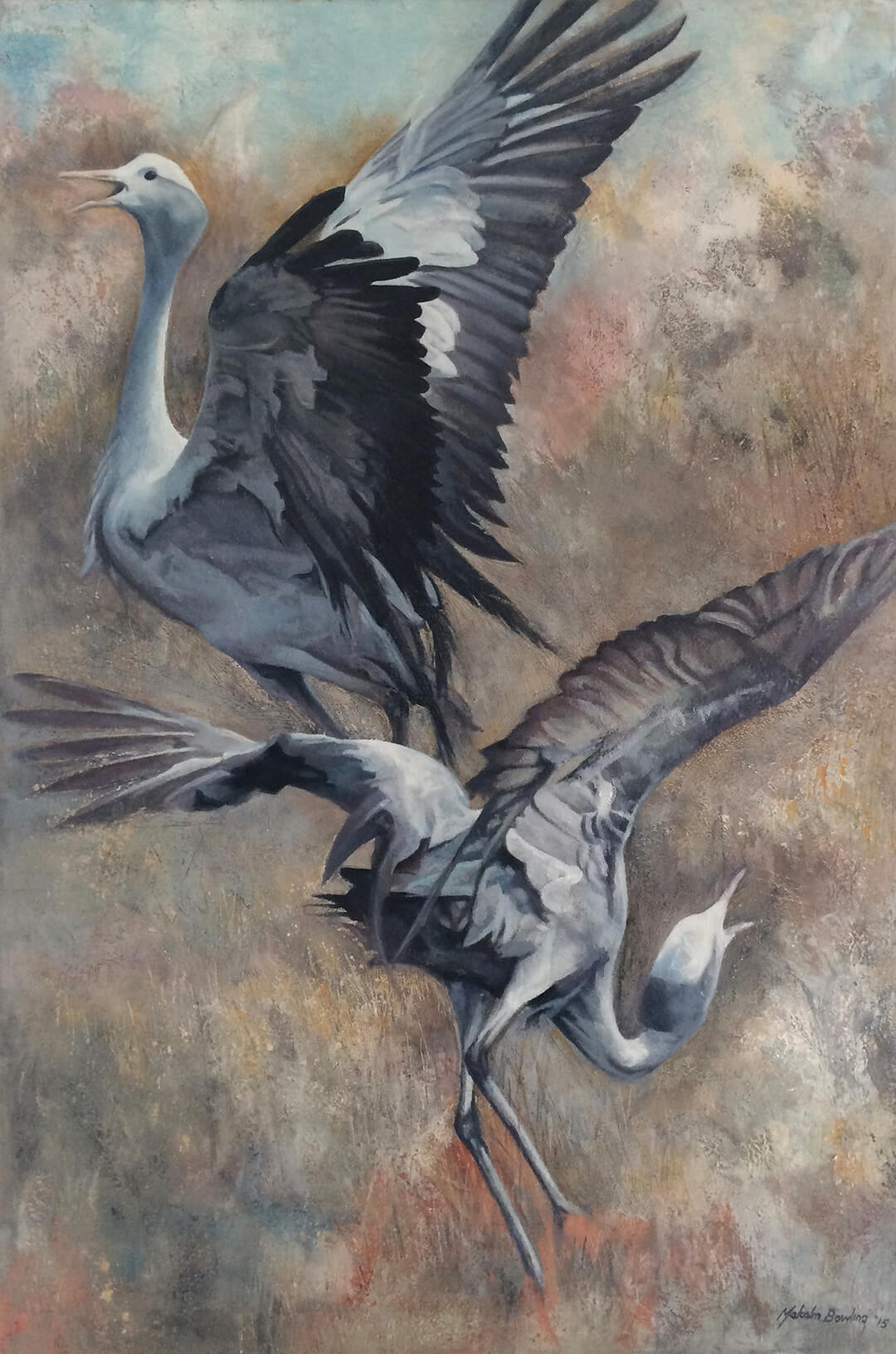 The Dance - Blue Cranes oil painting by Malcolm Bowling