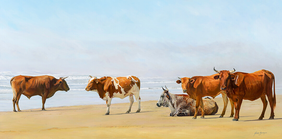 Ngunis on the Beach in the Transkei oil painting by Malcolm Bowling