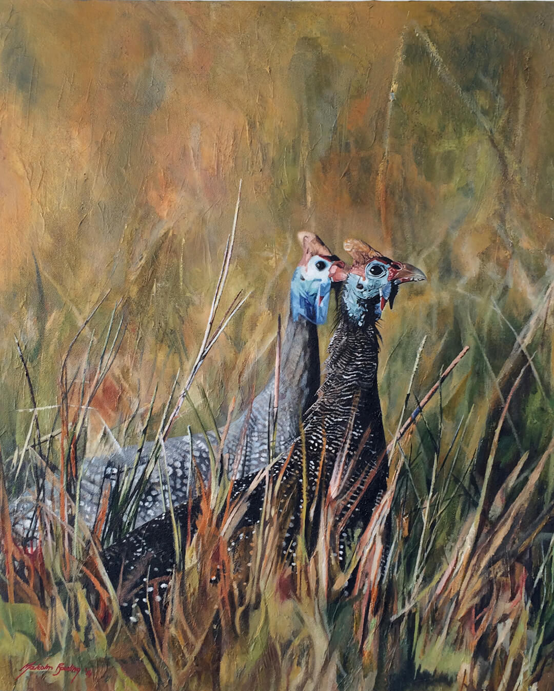 Guineafowl oil painting by Malcolm Bowling