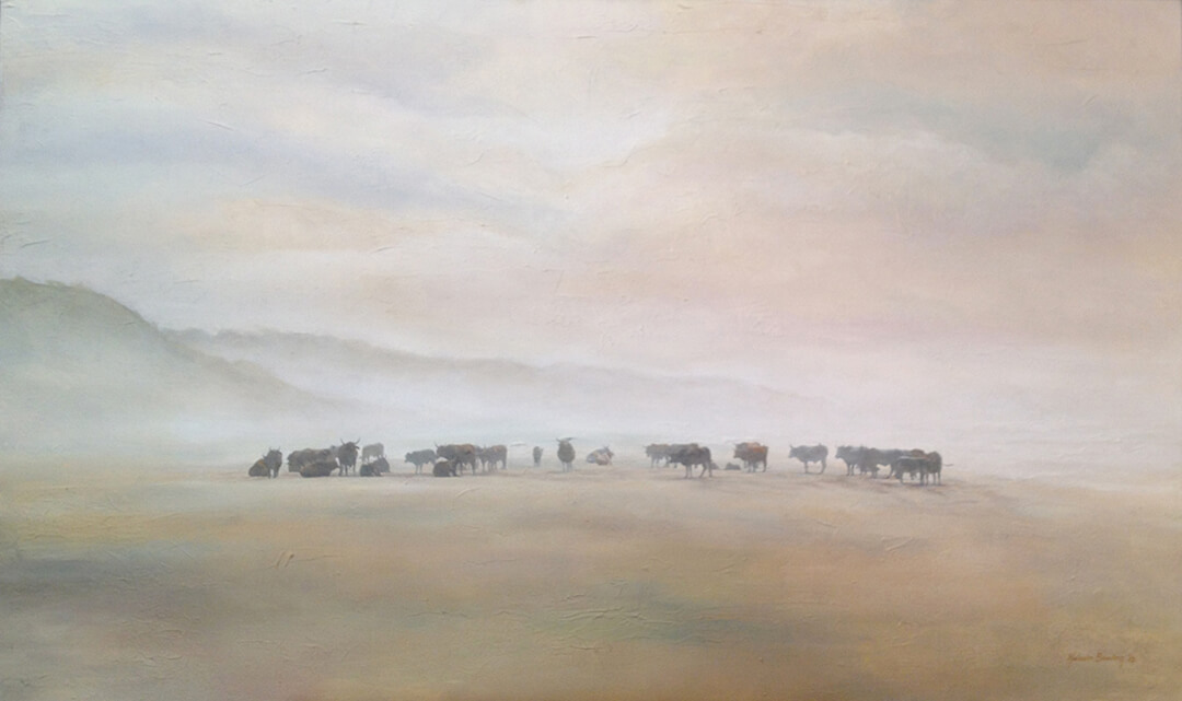 Ngunis in the Mist on the Beach oil painting by Malcolm Bowling